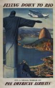 Flying Down To Rio, Pan American Airways. Vintage Travel Poster.